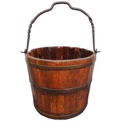 Nice Ash and Wrought Iron Barley Twist Handle Water, Grain Bucket, circa 1860