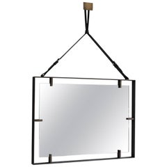 Rectangular Metal and Leather Mirror