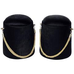 "Pair of ""Bearskin Hat"" Poufs"