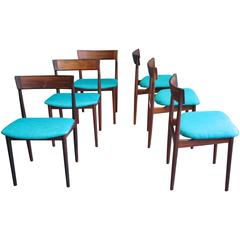 Blue Model 39 Dining Chairs by Henry Rosengren Hansen for Brande Møbelfabrik