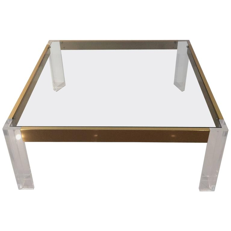 Lucite and brass coffee cocktail table vintage charles for Lucite and brass coffee table