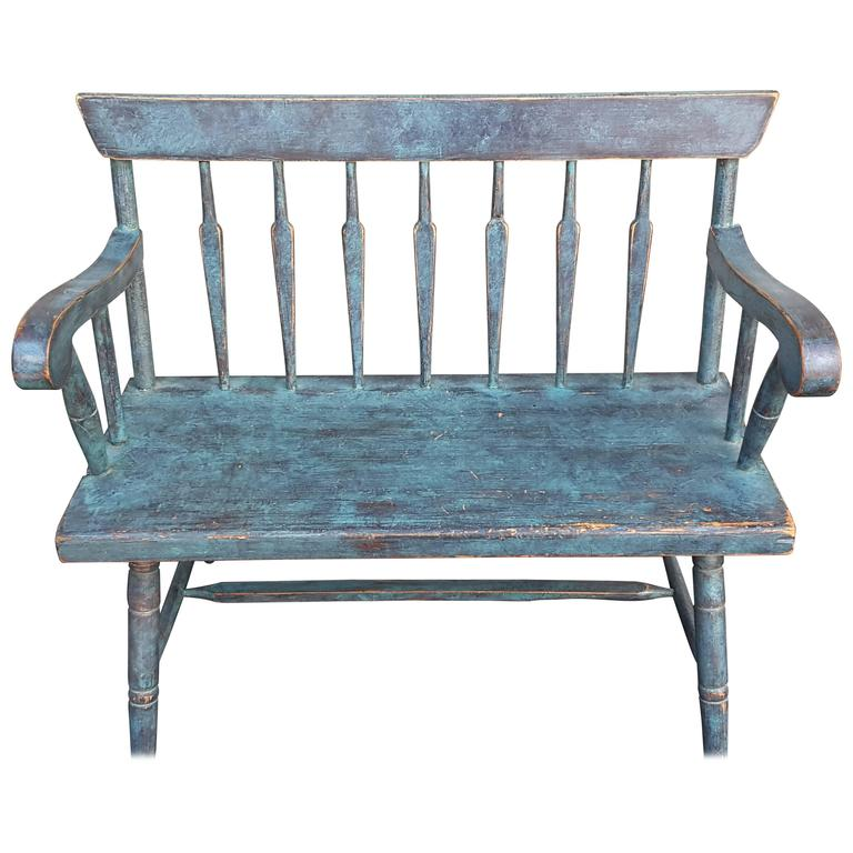 New England Pine Spear Back Windsor Bench In Turquoise