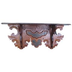 Edwardian Solid Walnut Carved Wall, Clock Shelf with Black Accented Highlights