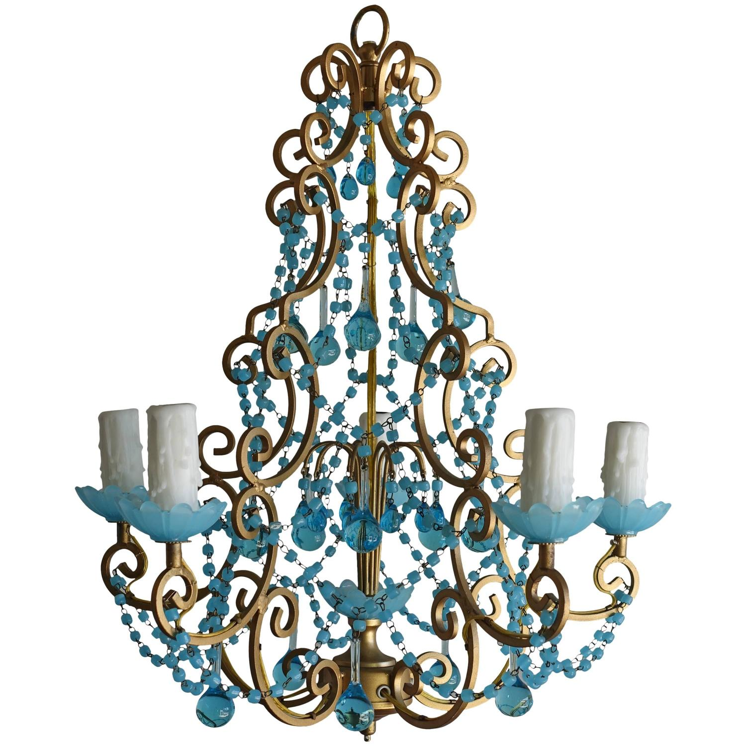 French Macaroni Beaded Aqua Blue Chandelier at 1stdibs
