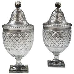 Pair of Large Antique Cut Glass Voneche Bonbonnieres