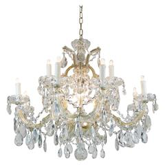 20th Century Italian Maria Theresa Thirteen-Light Two-Tier Crystal Chandelier