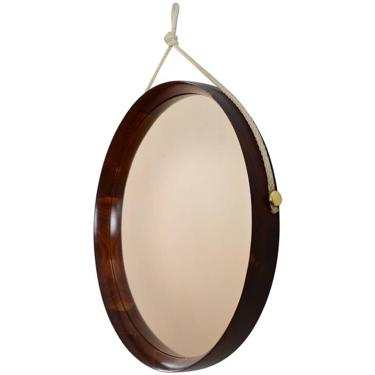 Round Italian Walnut and Brass Mirror with Nylon Cord, Made in Italy, 1960s