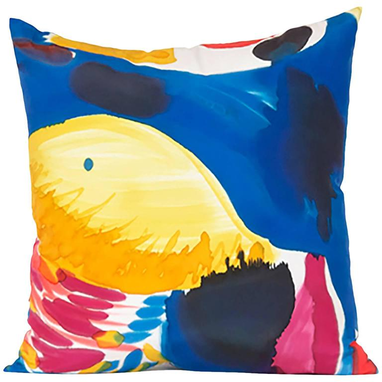 Hand-Painted Parrot Silk Charmeuse Square Pillow