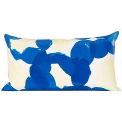 Hand-Painted Blue Yellow Molecules Silk Charmeuse Lumbar Pillow