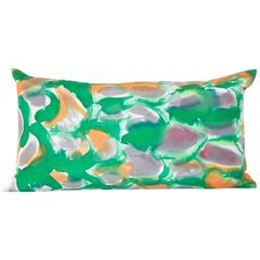 Hand-Painted Green Scales Silk Charmeuse Lumbar Pillow