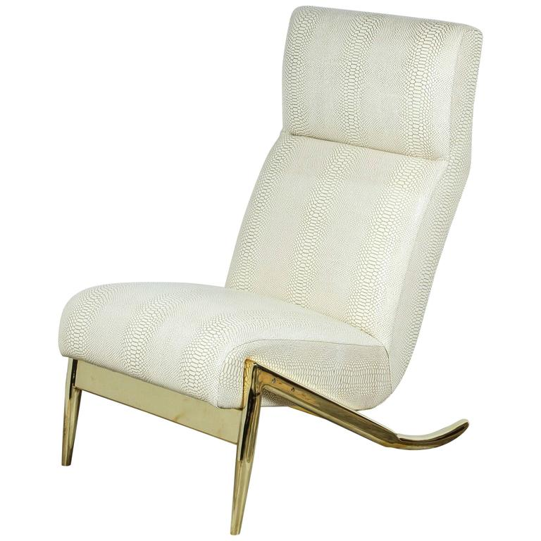 Paul Marra Slipper Chair in Brass with Faux Python