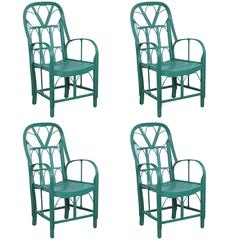 Set of Four French Stick Wicker Chairs