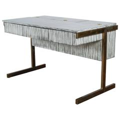 Paul Marra Writing, File Desk in Gray Zebra Finish