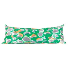 Hand-Painted Green Scales Silk Charmeuse Snake Pillow