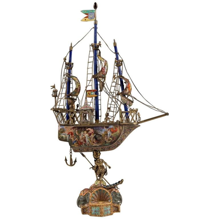 A Very Fine Viennese Parcel-Gilt Silver and Enamel Sailing Ship by Rudolf Linke For Sale