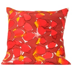 Hand Painted Red Scales Square Silk Charmeuse Pillow