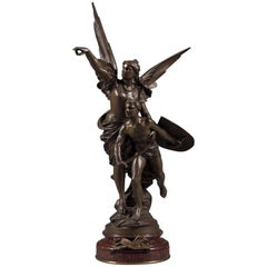Fine French Patinated Bronze Figural Group Titled Pro Patria by Edouard Drouot