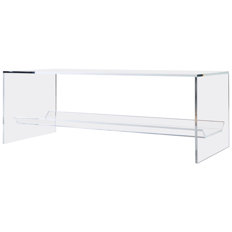 Transparent Acrylic Coffee Table with Multi-Purpose Sub-Surface Terrarium