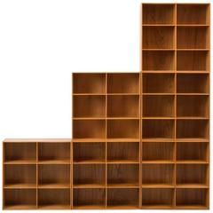 Set of Modular Elm Bookcases by Mogens Koch