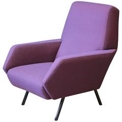 Italian Vintage Armchair in Metal and Purple Fabric, 1950s