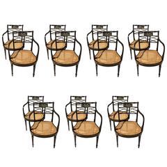 Wonderful Set 14 Hand-Painted Black Gilt Caned Vintage Lattice Back Armchairs