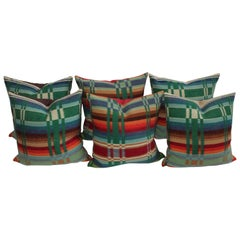 19th Century Colorful Wool Horse Blanket Pillows