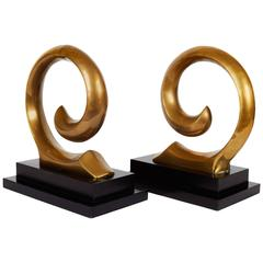 Rare Pierre Cardin Logo Sculptural Bookends