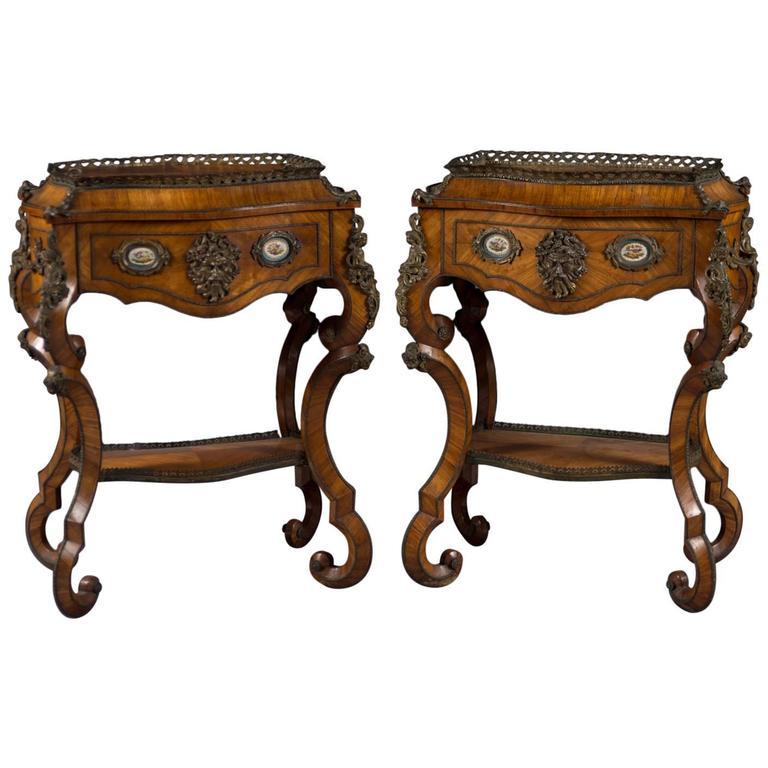 Fine Pair of French Rococo Style Bonze Mounted Side Tables/Planters For Sale