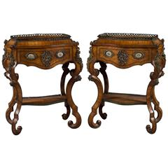 Fine Pair of French Rococo Style Bonze Mounted Side Tables/Planters