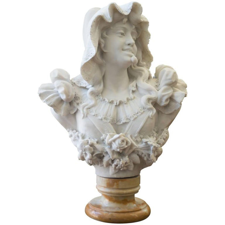 Antique Italian Carrara Marble Bust of a Young Lady For Sale