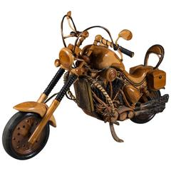 Fabulous Life-Size Vintage Carved Wood Model of a 1950s Harley Davidson