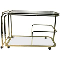 Exceptional Expandable Brass Bar or Tea Cart by Milo Baughman for DIA