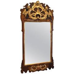 Rococo Styled Mirror in Walnut, 1740s