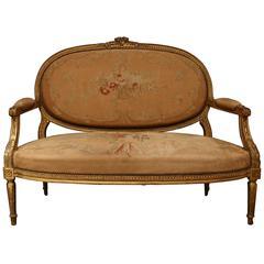 Giltwood Louis XVI Style Settee
