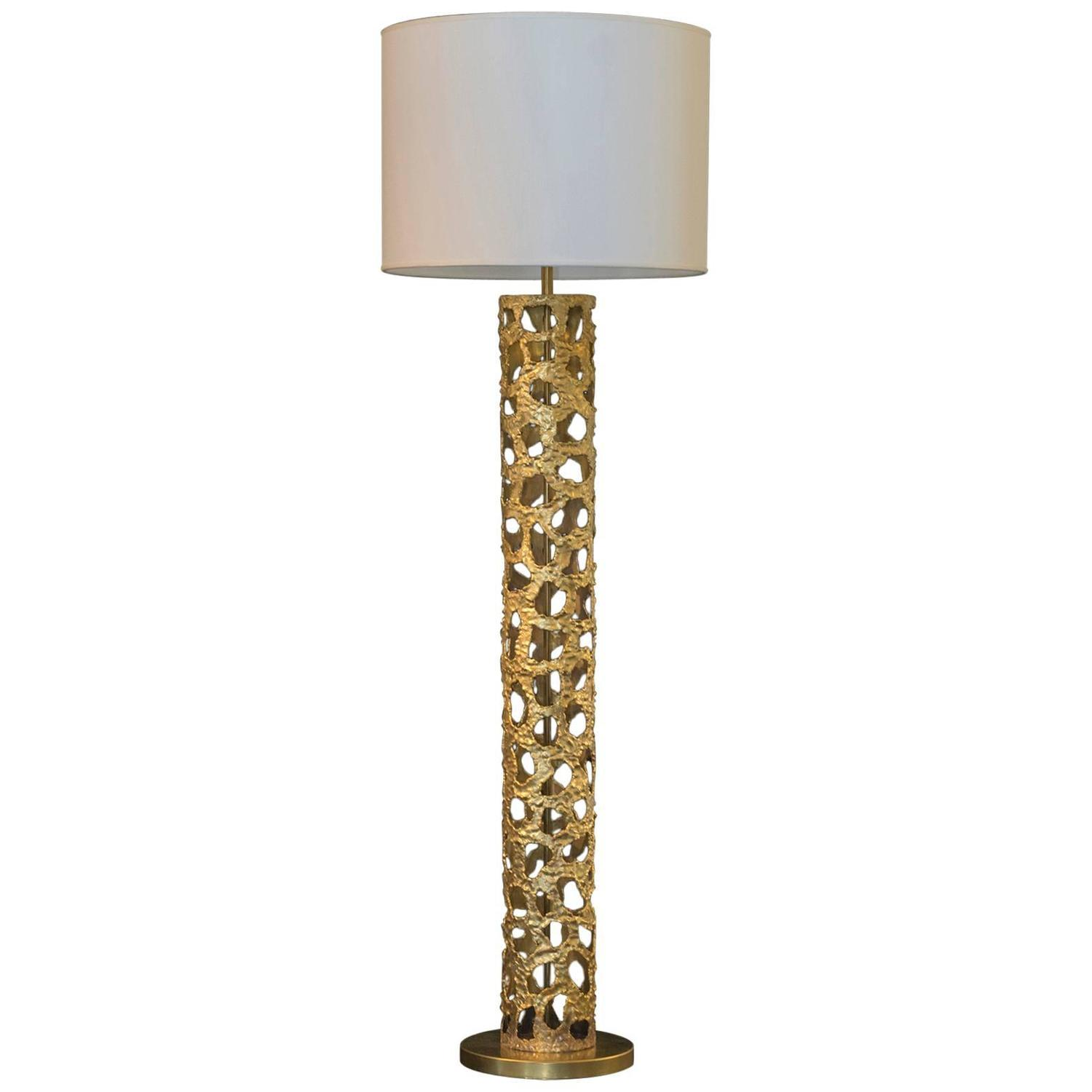 Flair edition quotcylinderquot brass floor lamp for sale at 1stdibs for White cylinder floor lamp