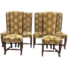 Six French Deco Dark Walnut Refinished Tall Back Dining Chairs