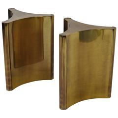 Pair of Mastercraft Brass Dining Table Pedestals