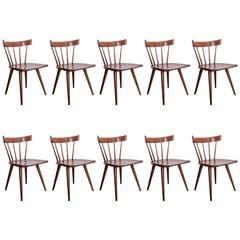 Set of Ten Dark Paul McCobb Spindle Back Chairs for Winchendon, USA, 1950s