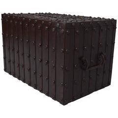 17th Century Iron Strong Box with original hardware