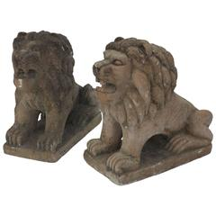 Cast Cement Petite Lions with Terra Cotta Finish