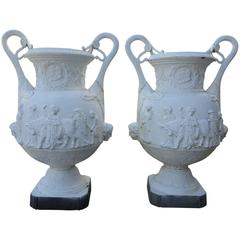 Monumental Pair of Cast Iron Neoclassical Figural Garden Urns