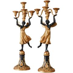 Pair of Early 19th Century Five-Light Candelabra by Josef Danhauser, Vienna