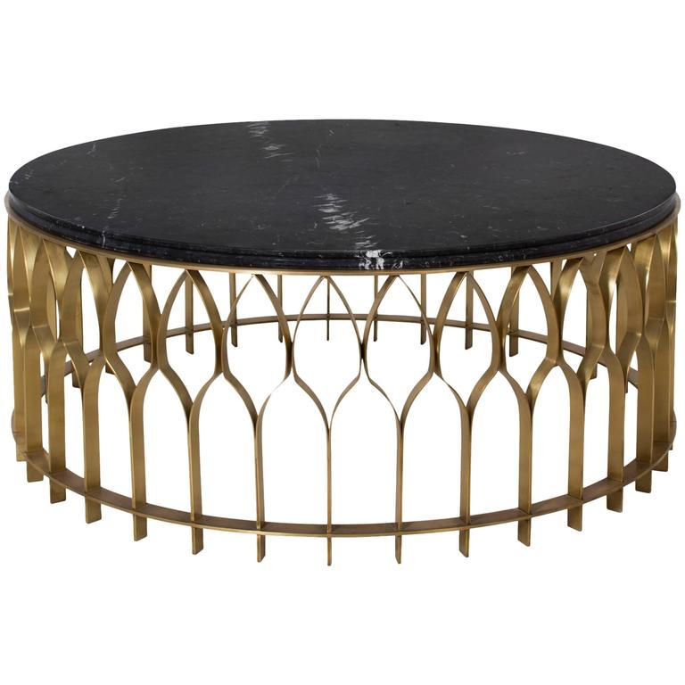 Arcade Coffee Table Aged Brass Structure And Marble Top Nero Marquina For Sale At 1stdibs
