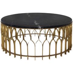 Arcade Coffee Table Aged Brass and Marble Top
