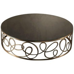 Curving Round Coffee Table with Bronze Base and Marble Top