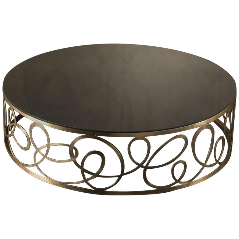 Curving Round Coffee Table with Bronze Base and Marble Top For Sale