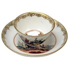 Meissen Small Painted Cup and Saucer Baroque Period Vintage A, circa 1735-1740