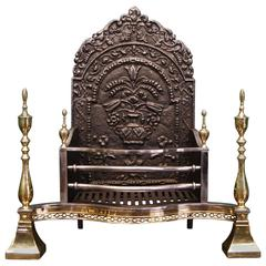Late 19th Century Brass and Steel Dog Fireplace, Grate