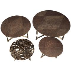 Torsade Round Coffee Table Bronze Structure and Marble Top
