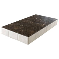 Walter A Coffee Table Marble-Top and Quilted Leather Structure